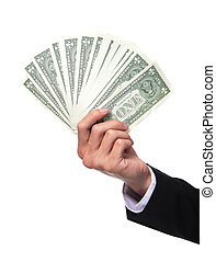 business man hand holding money