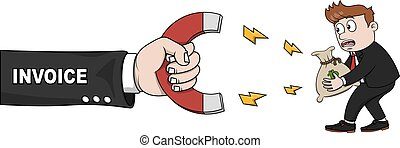 Business man hand invoice magnet mo