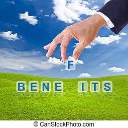 business man hand made benefits word buttons on green grass meadow