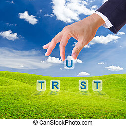 business man hand made trust word buttons on green grass...