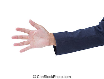 Business man hand on white background