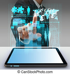 business man hand point to virtual business network process...