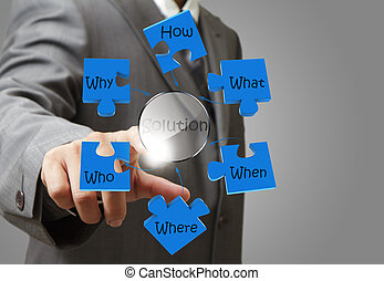 business man hand pointing at solution solving problem diagram