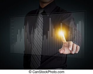 Business man hand pressing a chart