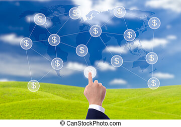 business man hand pressing button of money network