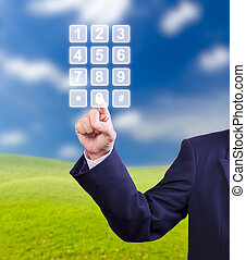 business man hand pressing transparent telephone buttons