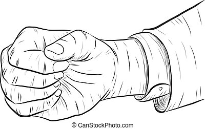 business man hand punch isolated on white background.