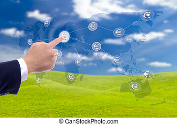 business man hand pushing button of euro sign network