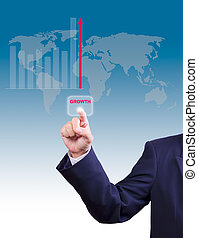 business man hand pushing growth button for business growth graph