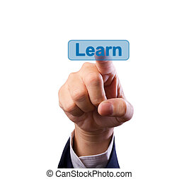 business man hand pushing learn button isolated