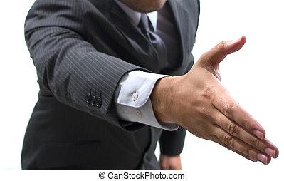 Business man hand shake - business man reaching hand to...