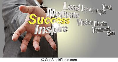 3d metallic success diagram as concept - business man hand ...