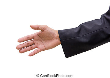 business man hand sign in suit isolated on white background