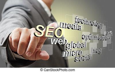 3d SEO search engine optimization as concept - business man...
