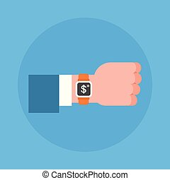 Business Man Hand Wearing Digital Wrist Watch Icon...
