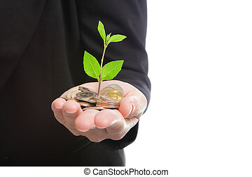 business man hand with green plant growing from money