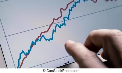 Business man hand with tablet browse rising diagram graph