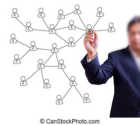 business man hand writing social network on whiteboard