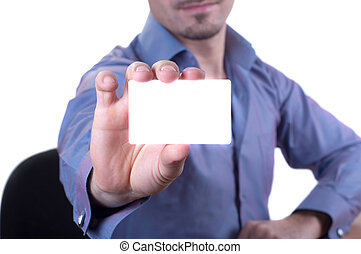 man handing a blank business card