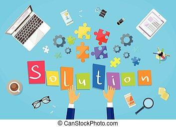 Business Man Hands Making Puzzle Desk Solution Concept