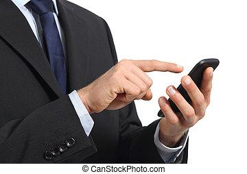 Business man hands touching a smart phone screen