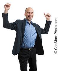 business man hands up