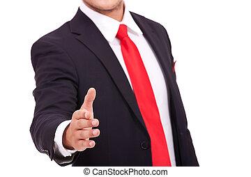 business man handshake - cutout of a business man putting ...