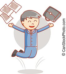 Business man happy jumping