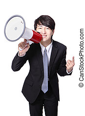 business man happy shouting megaphone