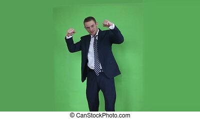 business man happy winner green scr