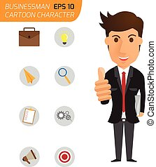business man happy with thumbs up and icons business. cartoon character vector illustration.