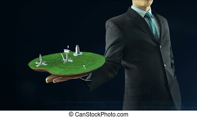 Business man has on hand green energy concept build animation solar panel and windmill black