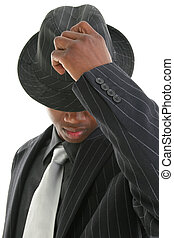 Business Man Hat - Attractive Young Man In Pinstripe Suit...