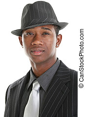 Business Man Hat - Close up of an attractive young man in...