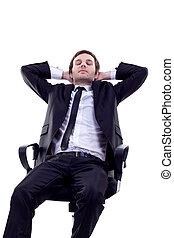 man having a quick sleep - Business man having a quick sleep...