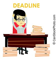 Business man having problem with deadline.