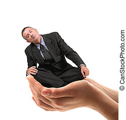 man held in the hands