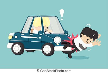Business man hit by a car Flat Vector Illustration