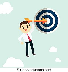 Business man hold arrow and shoot to the goal with sky background vector.Success business concept illustration