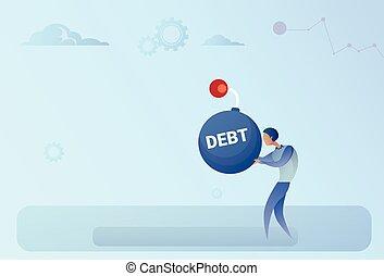 Business Man Hold Bomb Credit Debt Finance Crisis Concept