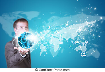 Business man hold Earth in hand. World map with contact icons