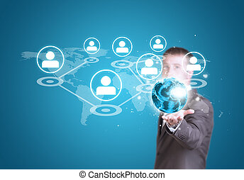 Business man hold Earth with world map and contact icons in hand