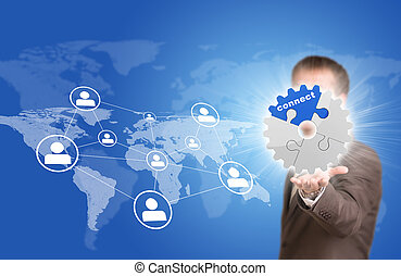 Business man hold gear. World map with contact icons