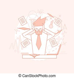 Business Man Hold Head Documents Paperwork Problem Concept