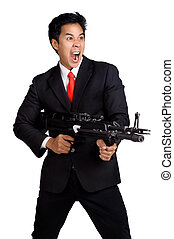 business man hold Machine gun shoot in isolated