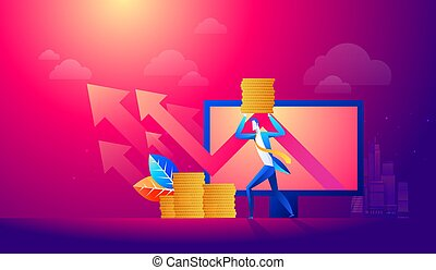 Business man hold money with arrow graph, success investment concept.