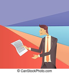 Business Man Hold Paper Documents, Sign Up, Contract Agreement Concept Flat
