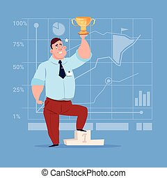 Business Man Hold Prize Winner Cup, Success Concept