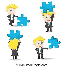 Business man hold puzzle