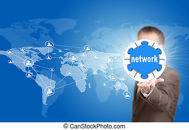 Business man hold puzzle sphere with network label